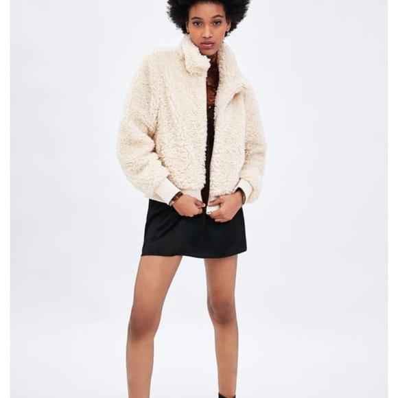 7ce0cc22 Zara Jackets & Coats | Fleece Bomber Jacket In Cream | Poshmark